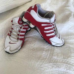 Red Nike Shocks, used